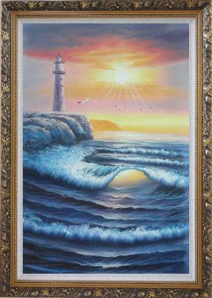 Framed Lighthouse, Sea Waves, Cliffs, Seagulls at Sunset Oil Painting Seascape Naturalism Ornate Antique Dark Gold Wood Frame 42 x 30 Inches