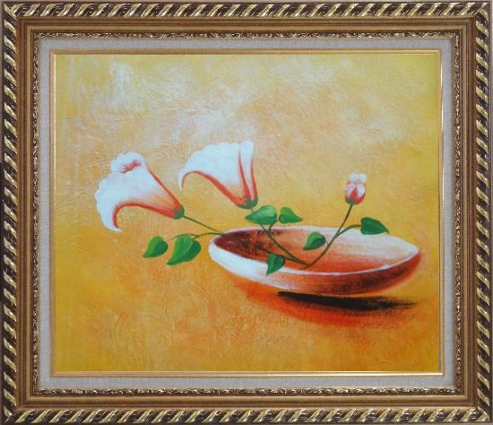 Framed Three Flowers in Earthen Plate Oil Painting Modern Exquisite Gold Wood Frame 26 x 30 Inches