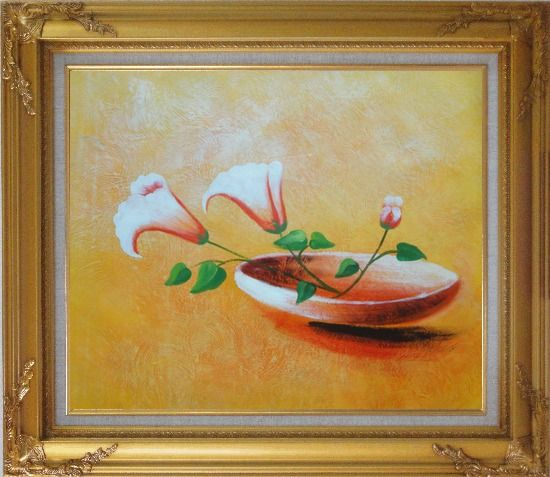Framed Three Flowers in Earthen Plate Oil Painting Modern Gold Wood Frame with Deco Corners 27 x 31 Inches
