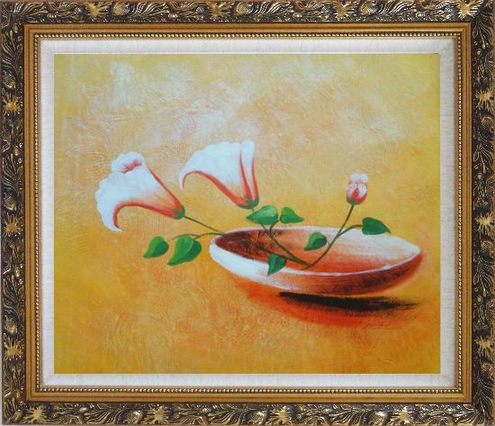 Framed Three Flowers in Earthen Plate Oil Painting Modern Ornate Antique Dark Gold Wood Frame 26 x 30 Inches