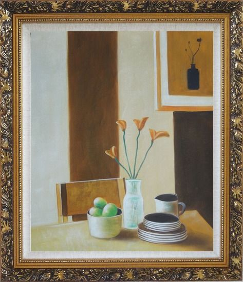 Framed Vase of Flower, Coffee Cup, Fruit on Table Oil Painting Still Life Modern Ornate Antique Dark Gold Wood Frame 30 x 26 Inches