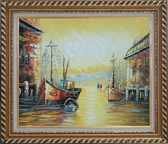 Framed Fishing Boats Parks on Port Village Oil Painting Naturalism Exquisite Gold Wood Frame 26 x 30 Inches