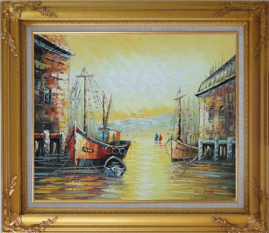 Framed Fishing Boats Parks on Port Village Oil Painting Naturalism Gold Wood Frame with Deco Corners 27 x 31 Inches