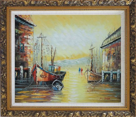 Framed Fishing Boats Parks on Port Village Oil Painting Naturalism Ornate Antique Dark Gold Wood Frame 26 x 30 Inches