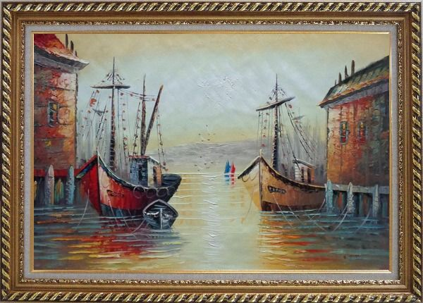 Framed Fishing Boats Parks on Port Village Oil Painting Naturalism Exquisite Gold Wood Frame 30 x 42 Inches