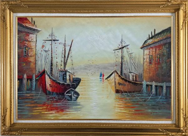 Framed Fishing Boats Parks on Port Village Oil Painting Naturalism Gold Wood Frame with Deco Corners 31 x 43 Inches