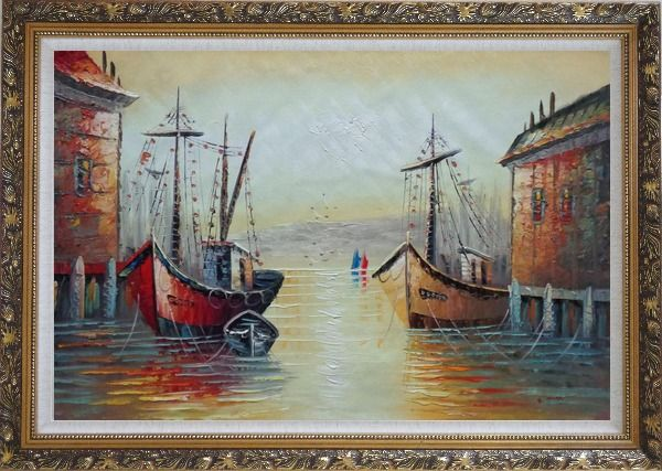 Framed Fishing Boats Parks on Port Village Oil Painting Naturalism Ornate Antique Dark Gold Wood Frame 30 x 42 Inches