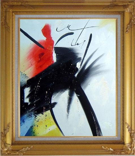 Framed Majestic I Oil Painting Flower Modern Gold Wood Frame with Deco Corners 31 x 27 Inches
