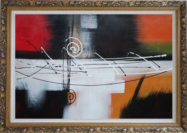 Framed Harmonious Rhythm Oil Painting Nonobjective Decorative Ornate Antique Dark Gold Wood Frame 30 x 42 Inches