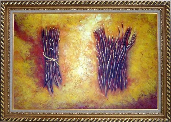 Framed Two Bundles Of Firewood Oil Painting Still Life Modern Exquisite Gold Wood Frame 30 x 42 Inches