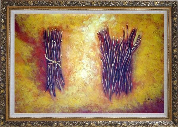 Framed Two Bundles Of Firewood Oil Painting Still Life Modern Ornate Antique Dark Gold Wood Frame 30 x 42 Inches