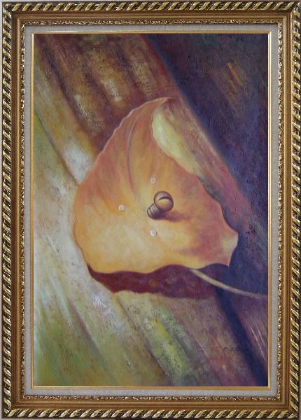 Framed Leaf, Screw and Wood Oil Painting Still Life Naturalism Exquisite Gold Wood Frame 42 x 30 Inches