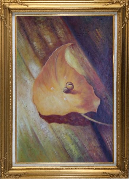 Framed Leaf, Screw and Wood Oil Painting Still Life Naturalism Gold Wood Frame with Deco Corners 43 x 31 Inches