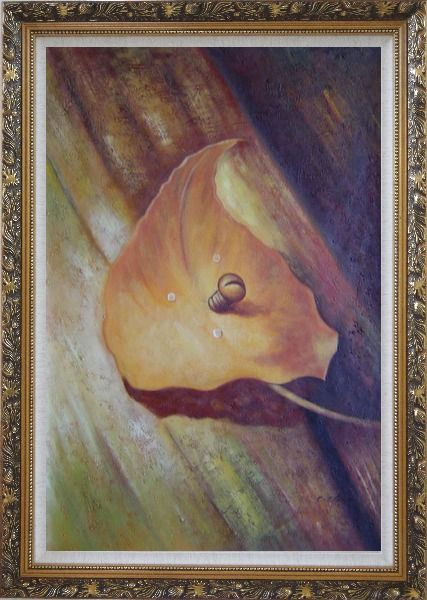 Framed Leaf, Screw and Wood Oil Painting Still Life Naturalism Ornate Antique Dark Gold Wood Frame 42 x 30 Inches