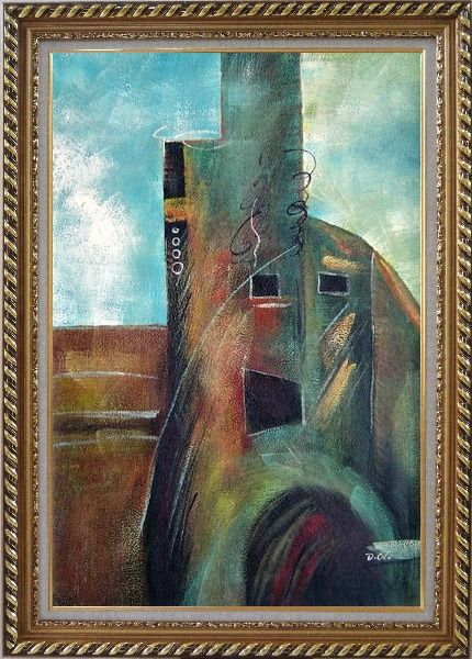 Framed Building Oil Painting Cityscape Modern Exquisite Gold Wood Frame 42 x 30 Inches