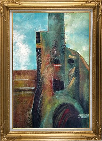 Framed Building Oil Painting Cityscape Modern Gold Wood Frame with Deco Corners 43 x 31 Inches