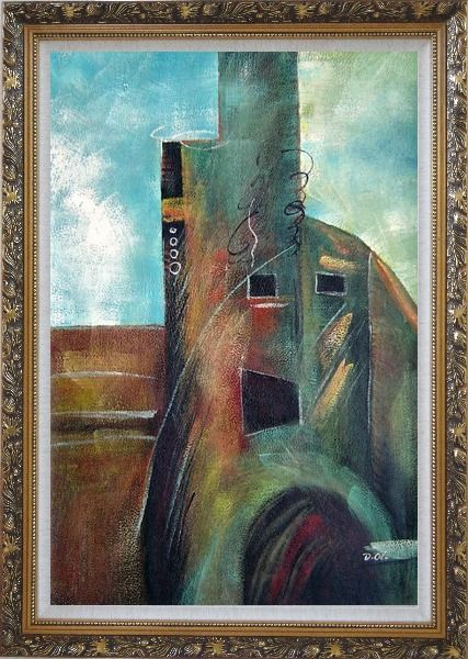 Framed Building Oil Painting Cityscape Modern Ornate Antique Dark Gold Wood Frame 42 x 30 Inches