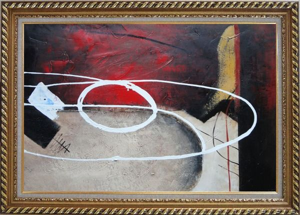 Framed White Circle Lines in Black, Red and Sand Background Oil Painting Nonobjective Decorative Exquisite Gold Wood Frame 30 x 42 Inches