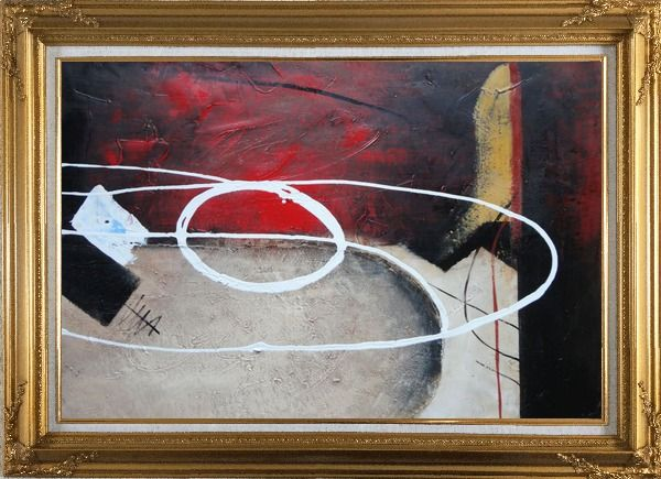 Framed White Circle Lines in Black, Red and Sand Background Oil Painting Nonobjective Decorative Gold Wood Frame with Deco Corners 31 x 43 Inches