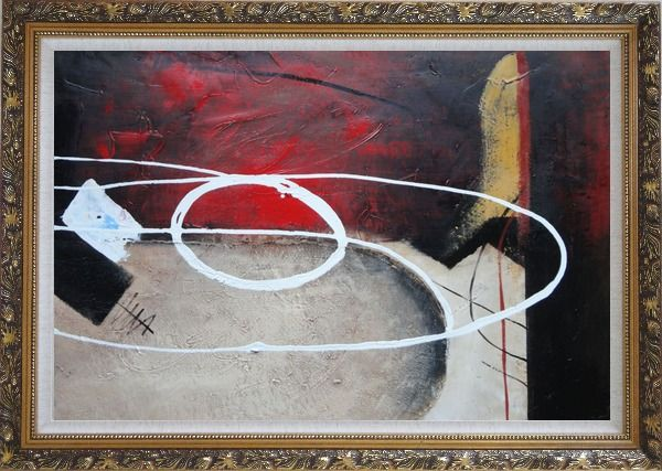 Framed White Circle Lines in Black, Red and Sand Background Oil Painting Nonobjective Decorative Ornate Antique Dark Gold Wood Frame 30 x 42 Inches