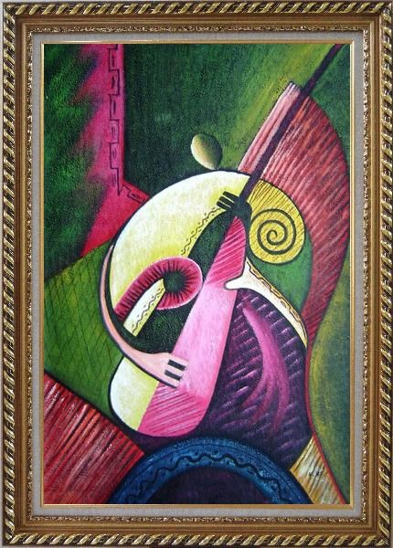 Framed Playing Musical Instrument Oil Painting Portraits Musician Modern Exquisite Gold Wood Frame 42 x 30 Inches