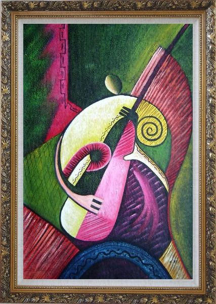 Framed Playing Musical Instrument Oil Painting Portraits Musician Modern Ornate Antique Dark Gold Wood Frame 42 x 30 Inches