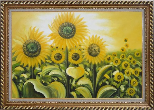 Framed Glorious Sunflower Field Oil Painting Landscape Naturalism Exquisite Gold Wood Frame 30 x 42 Inches