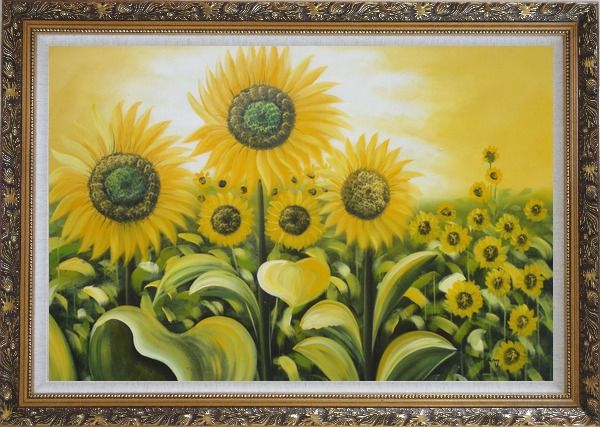 Framed Glorious Sunflower Field Oil Painting Landscape Naturalism Ornate Antique Dark Gold Wood Frame 30 x 42 Inches