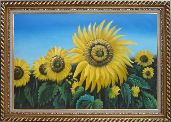 Framed Glory of Sunflowers Oil Painting Landscape Field Naturalism Exquisite Gold Wood Frame 30 x 42 Inches