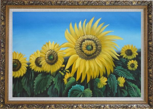 Framed Glory of Sunflowers Oil Painting Landscape Field Naturalism Ornate Antique Dark Gold Wood Frame 30 x 42 Inches