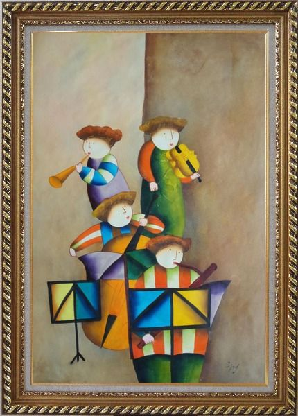 Framed Enjoyable Musical Band Oil Painting Portraits Musician Modern Exquisite Gold Wood Frame 42 x 30 Inches