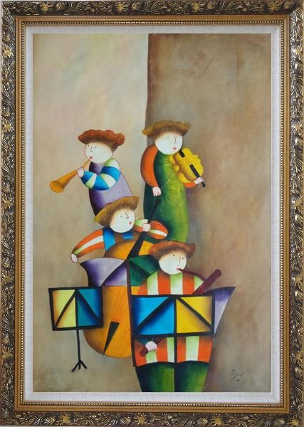Framed Enjoyable Musical Band Oil Painting Portraits Musician Modern Ornate Antique Dark Gold Wood Frame 42 x 30 Inches