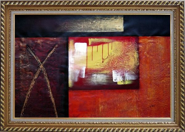 Framed Combination of Abstract Oil Painting Nonobjective Modern Exquisite Gold Wood Frame 30 x 42 Inches