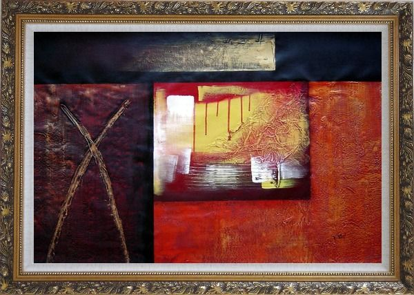 Framed Combination of Abstract Oil Painting Nonobjective Modern Ornate Antique Dark Gold Wood Frame 30 x 42 Inches