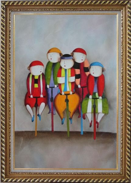 Framed Cycling Circus Clowns Oil Painting Portraits Modern Exquisite Gold Wood Frame 42 x 30 Inches