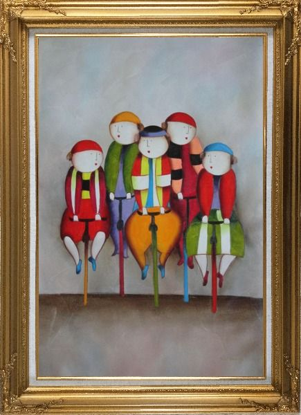 Framed Cycling Circus Clowns Oil Painting Portraits Modern Gold Wood Frame with Deco Corners 43 x 31 Inches