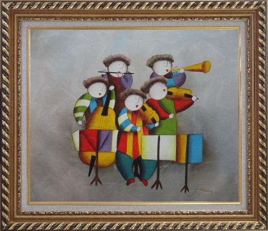 Framed Musical Band Oil Painting Portraits Musician Modern Exquisite Gold Wood Frame 26 x 30 Inches