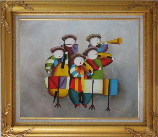Framed Musical Band Oil Painting Portraits Musician Modern Gold Wood Frame with Deco Corners 27 x 31 Inches