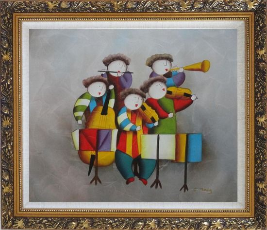 Framed Musical Band Oil Painting Portraits Musician Modern Ornate Antique Dark Gold Wood Frame 26 x 30 Inches