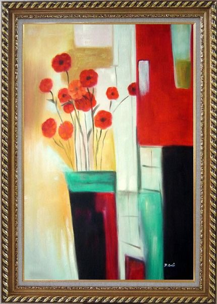 Framed Red Blooming Flowers Oil Painting Decorative Exquisite Gold Wood Frame 42 x 30 Inches