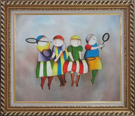 Framed Tennis Players Oil Painting Portraits Modern Exquisite Gold Wood Frame 26 x 30 Inches