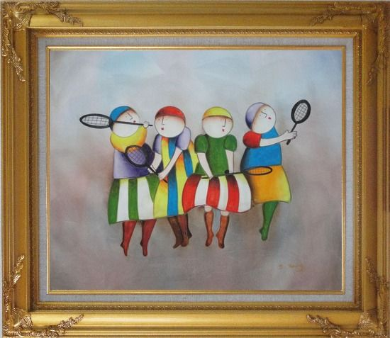 Framed Tennis Players Oil Painting Portraits Modern Gold Wood Frame with Deco Corners 27 x 31 Inches