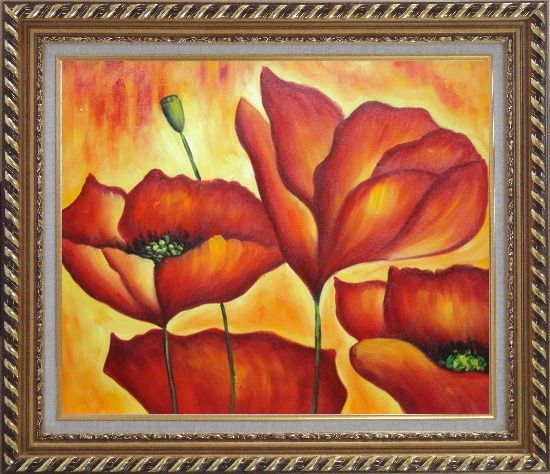 Framed Fire Red Flowers In Yellow And Red Background Oil Painting Modern Exquisite Gold Wood Frame 26 x 30 Inches