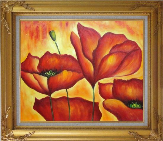 Framed Fire Red Flowers In Yellow And Red Background Oil Painting Modern Gold Wood Frame with Deco Corners 27 x 31 Inches