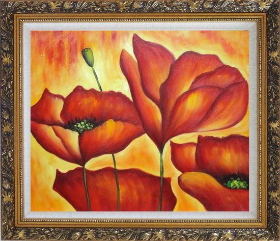 Framed Fire Red Flowers In Yellow And Red Background Oil Painting Modern Ornate Antique Dark Gold Wood Frame 26 x 30 Inches