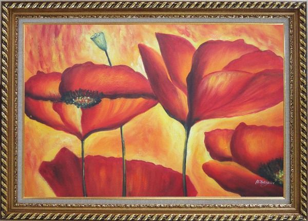 Framed Fire Red Flowers In Yellow And Red Background Oil Painting Modern Exquisite Gold Wood Frame 30 x 42 Inches