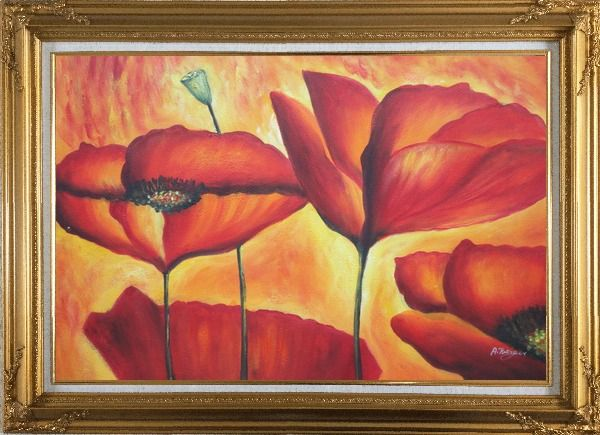 Framed Fire Red Flowers In Yellow And Red Background Oil Painting Modern Gold Wood Frame with Deco Corners 31 x 43 Inches