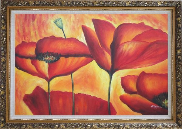 Framed Fire Red Flowers In Yellow And Red Background Oil Painting Modern Ornate Antique Dark Gold Wood Frame 30 x 42 Inches