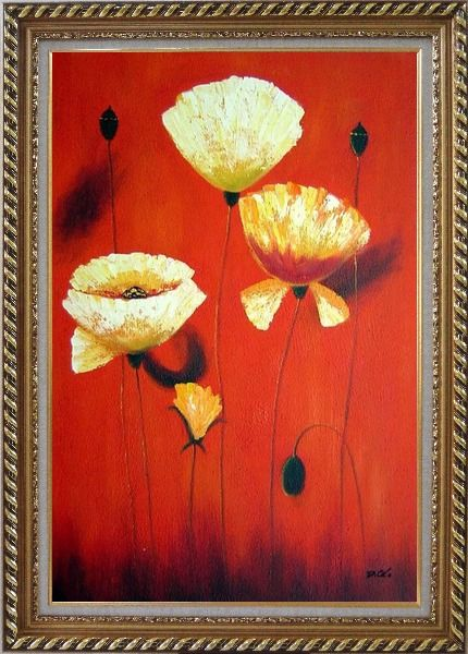 Framed Yellow White Flowers In Red Background Oil Painting Modern Exquisite Gold Wood Frame 42 x 30 Inches