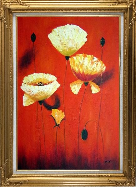 Framed Yellow White Flowers In Red Background Oil Painting Modern Gold Wood Frame with Deco Corners 43 x 31 Inches